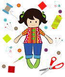 Vector of Doll Sewing with Sewing Tools Stock Photos