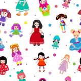 Vector doll toy cute girl female set illustration childhood baby dress face child beautiful dollhouse children baby Stock Images