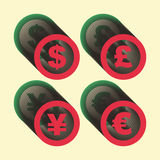 Vector dollar, euro, yen and pound icons. Signs Stock Image