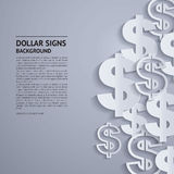 Vector dollar signs on grey background. Royalty Free Stock Photo