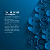 Vector Dollar Signs On Blue Background. Royalty Free Stock Photos