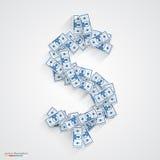 Vector dollars flat. Blue Royalty Free Stock Photography