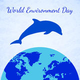 Vector Dolphin and Earth. World Environment Day Stock Image
