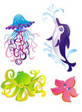 Vector dolphin, starfish, octopus, jellyfish royalty free illustration