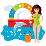 Vector Dolphinarium Concept. Flat style colorful Cartoon illustration. Girl trainer dolphin feeding fish. Isolated on a white background Royalty Free Stock Photography