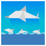 Vector dolphins Beautiful blue sky  multicolored waves Stock Photography