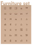 Vector domestic furniture icon set. Set of the home furniture and decoration related icons royalty free illustration
