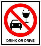Vector don t drink and drive sign. Stock Photo
