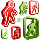 Vector don't walk and walk signs. stock illustration
