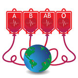 Vector - donate blood  with map world Stock Photo