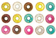 Vector realistic donuts collection, set. Isolated objects on the white background. vector illustration