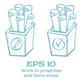 Vector Done and Work in Progress handmade icons Royalty Free Stock Image