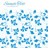 Vector donkerblauw Turks bloemen horizontaal kader Stock Foto