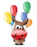 Vector donkey with balloons Royalty Free Stock Photos