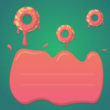 Vector donut design in mint green and pink gradient colors. Design for greeting, birthday, invitation cards, menu, booklets Royalty Free Stock Image