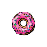 Vector donut with glaze icing, sprinkles isolated Royalty Free Stock Photography