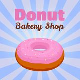 Vector donut poster, banner with pink glaze pastry for advertising of bakery shop. Cartoon flat style Royalty Free Stock Photos