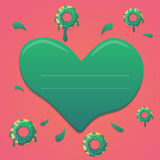 Vector donut valentines day design in mint green and pink gradient colors with heart. Design for greeting, birthday, invitation ca Royalty Free Stock Image