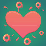 Vector donut valentines day design in mint green and pink gradient colors with heart Royalty Free Stock Photography