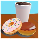 Vector of donuts and drinks on the table stock illustration