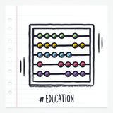 Vector Doodle Abacus Icon. Illustration with color, drawn on lined note paper royalty free illustration