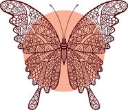 Vector doodle abstract outline decorative butterfly illustration Royalty Free Stock Images