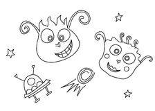Vector doodle of aliens in space with a spaceship Royalty Free Stock Photography