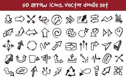 Vector doodle arrow icons set. Stock cartoon signs for design stock illustration