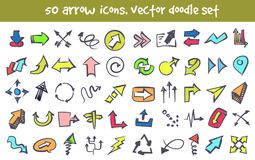 Vector doodle arrow icons set. Stock cartoon signs for design Royalty Free Stock Image