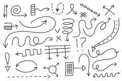 Vector doodle arrow set. Isolated symbols, design elements Stock Images