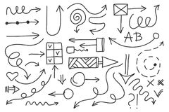 Vector doodle arrow set. Isolated symbols, design elements Stock Photos