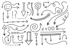 Vector doodle arrow set. Isolated symbols, design elements Royalty Free Stock Images
