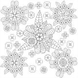 Vector doodle art floral pattern whith flowers Royalty Free Stock Photography