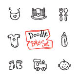 Vector doodle baby icons set. Cute hand drawn collection of kids objects Stock Photos