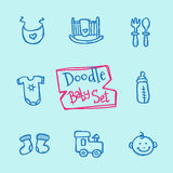 Vector doodle baby icons set. Cute hand drawn collection of kids objects Royalty Free Stock Photos