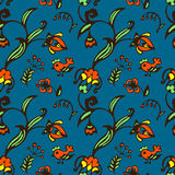 Vector Doodle bird and flower seamless pattern Royalty Free Stock Images