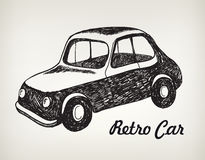 Vector doodle black and white hand drawn retro car Royalty Free Stock Images