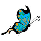 Vector doodle blue butterfly. On white background Stock Image