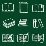 Vector Doodle Book Icon Set. Open Book, Closed Book, Bookmark, Pile of Books, E-books. Library Icons Stock Photos