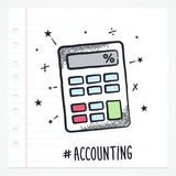 Vector Doodle Calculator Icon. Illustration with color, drawn on lined note paper Royalty Free Stock Photography