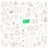 Vector doodle camping elements set Royalty Free Stock Images