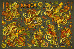 Vector doodle cartoon set of Africa designs Stock Photography