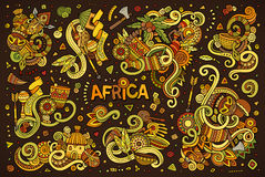 Vector doodle cartoon set of Africa designs Royalty Free Stock Photo