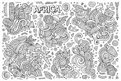Vector doodle cartoon set of Africa designs Stock Images
