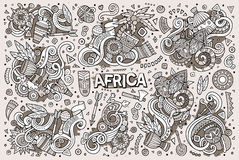 Vector doodle cartoon set of Africa designs Royalty Free Stock Image