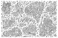 Vector doodle cartoon set of Africa designs Stock Image