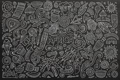 Vector doodle cartoon set of Africa objects Royalty Free Stock Photo