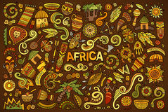 Vector doodle cartoon set of Africa objects Stock Images