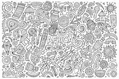 Vector doodle cartoon set of Africa objects Stock Image