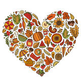 Vector doodle cartoon set of Autumn objects Stock Image
